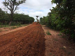 Aplicación de sellado en vía rural Korhogo Lataha Costa de Marfil